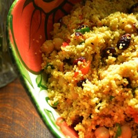 Curried Couscous,Chickpea and Cranberry Salad